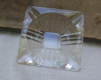 "Vintage Ashtray / Clear Pressed Glass / 3 1/2"" Glass Ashtray / Gift for Smoker / Art Deco Home Decor / Square Ashtray"