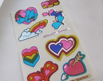 SALE Mello Smello Scented Metallics Rare Vintage Sticker Sheet - 80's Rainbow Heart Silver Reflective Mylar Foil Scratch and Sniff