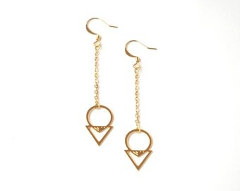 Earrings Andy brass gold filled 24k or silver plated brass