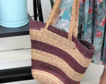 Purple and Natural Striped Straw Shoulder Bag