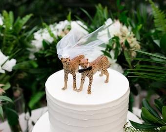 Cheetah-wedding-cake topper-lion-safari-cat-jungle-zoo-lioness-cub-bride-groom-woodland-Mr and Mrs-cat lover-cat family-animal-cat wedding