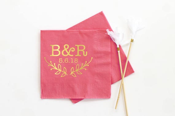 Personalized Napkins For Wedding Monogram Cocktail Custom Printed Coral And Gold Foil Monogrammed Party Supplies From