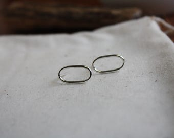 Argentium Silver Oval Studs - Oval Stud Earrings - Open Oval Post Earrings - Silver Oblong Stud Earrings - Simple Lightweight Post Earrings