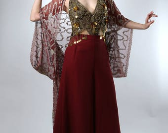 Burgundy Embellished 1920's Style Gown