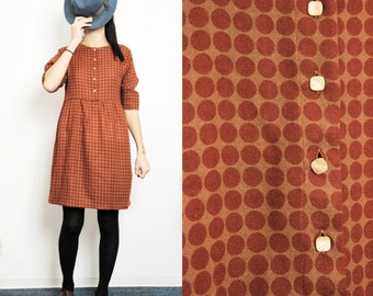 Polka Dots Rust and Mustard Pure Wool  Flannel Smock Dress with Buttons [Sofia Dress/rusty dots]