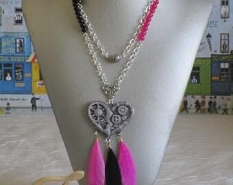 """Ravissant collier avec pendentif en céramique """"Coeur steampunk"""""""