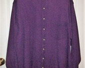 Vintage Men's Purple Collarless Waffle Knit Shirt by Eddie Bauer XL Only 11 USD