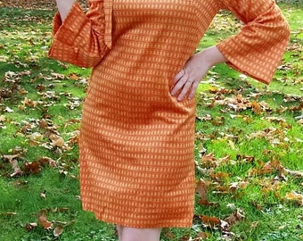 Vintage 1960s Ladies Red & Gold Hippie Mod Mini Dress Medium Only 20 USD