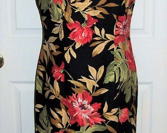 Vintage Ladies Black Floral Print Dress by Jessica Howard Size 10 Only 9 USD