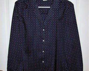 Vintage 1970s Ladies Navy Geometric Print Long Sleeve Blouse by Jack Winter Size 12 Only 7 USD