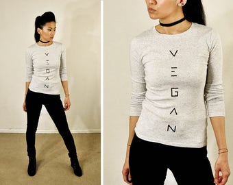 Vegan Crew Neck :  Heather light grey long sleeve top