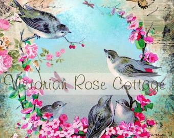 French Blue Birds Fabric Block - Art Print