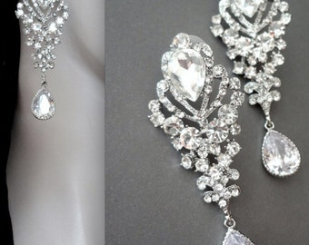 Chandelier earrings ~ Long ~ Rhinestone earrings ~ Brides earrings ~ Wedding jewelry ~ Pageant earrings ~  Gorgeous ~ Statement earrings