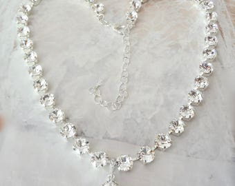 Crystal wedding necklace, Swarovski crystal necklace, Brides necklace, clear sparkling crystals, Stunning,Crystal statement necklace, SOPHIA