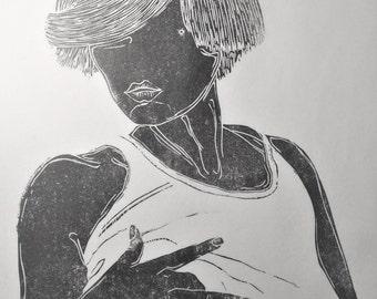 """inspiration erotique vintage linogravure imprimé à l'encre à l'huile  sur papier de riz """" Colette """""""
