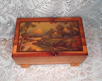 Vintage Wood Hinged Jewelry Box with Cottage Scene on Top