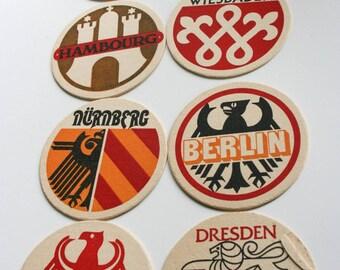 Vintage Retro, Cardboard Drink Coasters, German Cities, Paper Ephemera, Germany Tourist Collectibles, Set of Eight (8)