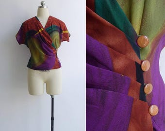 15% SALE (Code In Shop) - Vintage 80's 'Swirled Ink' Abstract V-Neck Draped Blouse S or M