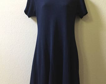 1990s babydoll dress, medium dress, 90s mini dress, navy blue vintage dress, LGS knits size 8, medium large dress, shift dress, loose,