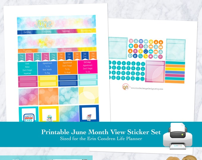 Printable JUNE MONTHLY VIEW, June Monthly Stickers, Monthly Planner Kit