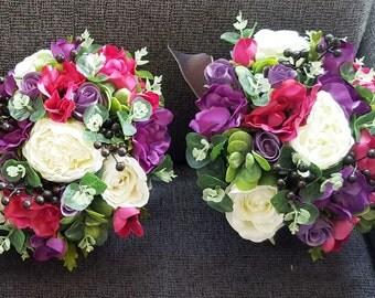 Boho wedding bouquet, bride, bridesmaid bouquet.   Purple, mauve, hot pink and white bouquet.  Roses, peonies, anemones, gum foliage