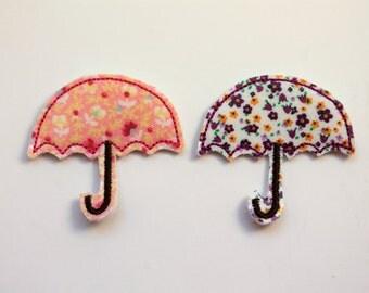 Umbrella feltie, Umbrella felt stitchies, floral Umbrella feltie, 4 pcs for hair accessories, scrapbooking, or crafts, wholesale felties