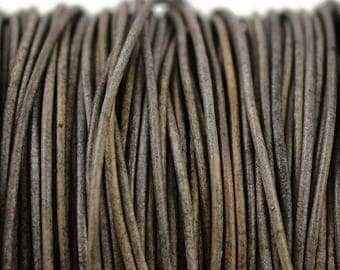 1.5mm Natural Grey Brown Leather Round Cord - Distressed Matte Finish