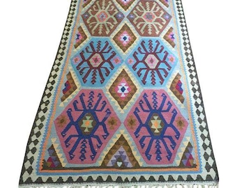Vintage Kilim Rug, 9 x 3 Runner, Harsin Style, Tribal Boho Decor