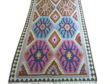 Vintage Kilim Rug, 9 x 3 Runner, Harsin Style, Tribal Boho Decor
