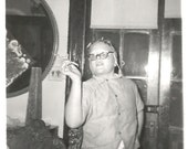 "Vintage Snapshot ""Yes, Dahling"" Kid Hamming It Up Peppermint Stick Cigarette Pincurls Eyeglass Chain  Found Photo"