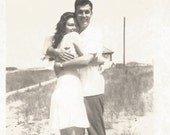 "Reserved For Karen Vintage Snapshot ""Happy Together"" Pretty Girl Handsome Man Hug Embrace Sand Dunes Beach Found Vernacular Photo"