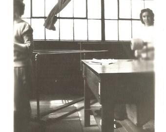 "Vintage Snapshot ""Sewing Table"" Women At Work Spool Of Thread Found Vernacular Photo Antique Photo Paper Ephemera"