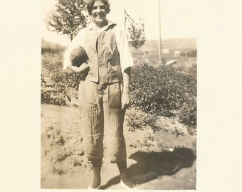 "Vintage Photo ""Tommy"" Teenage Girl Football Handwritten Name Found Vernacular Real Photo Postcard RPPC"