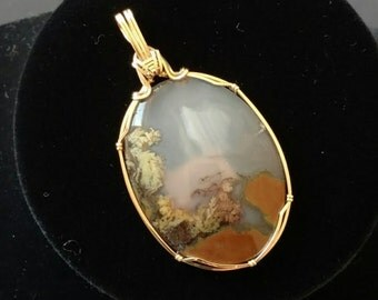 Priday Plume Agate Pendant, Wire Wrapped Jewelry, Wire Wrapped Pendant, Wire Jewelry, 14 kt Gold Fill Necklace