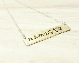 Namaste Necklace, Bar Necklace, Hand Stamped Necklace, Yoga Jewelry