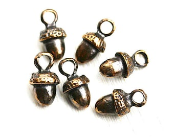 Acorn metal charm, Antique Brass acorn beads, greek metal casting, small acorns, Lead Free, 6pc - F278