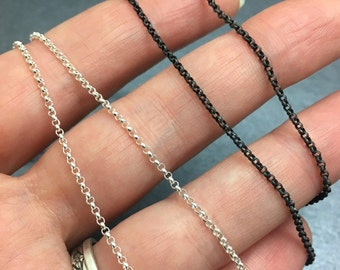 Solid Sterling Silver Rolo Chain - Silver, Med or Dark Silver Finish - 14, 16, 18, 20, 24, 30 inch lengths