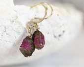 Watermelon Tourmaline Earrings - Raw Stone Earrings - October Birthstone Earrings - Raw Tourmaline Earrings - Tiny Stone Earrings