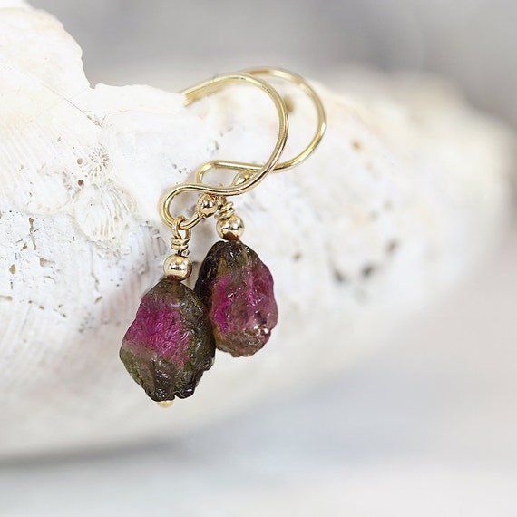 Watermelon Tourmaline Earrings - Raw Stone Earrings