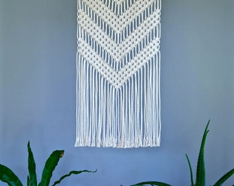 "Macrame Wall Hanging - Natural White Cotton Rope 18"" Wooden Dowel - Boho Home, Nursery Decor, Geometric Chevron Pattern - Made To Order"