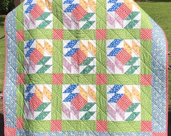 """1930's Reproduction Fabrics Are Bright and Beautiful In This Mosaic Pattern 40"""" X 40"""" Quilt"""