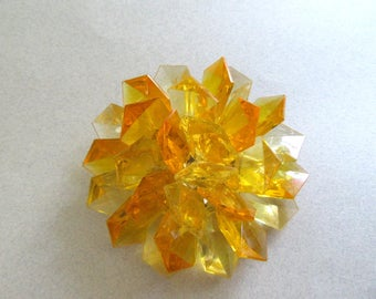 Mod 1960's Yellow Jello Pastel Jewel Tone Faceted Lucite Brooch Hong Kong Vintage Costume Jewelry Summer Jewelry