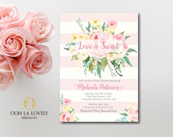 Bridal Shower Invitation, Bridal Shower Invite, Love is Sweet, printable, DIY, Pink Floral Bridal Shower Invitation, Baby Shower