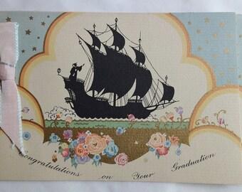 Art Deco Greeting Card - Graduation Sailing Ship