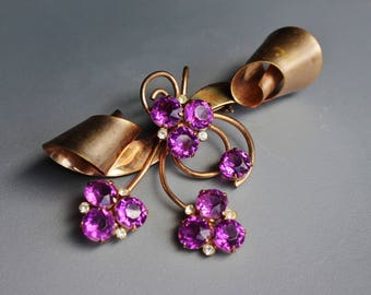 Stunning Vintage Genuine Purple Amethyst Crystal and Solid Copper Abstract Flower Brooch Pin