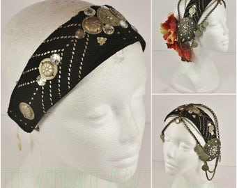 Assuit Headdress Base- Black and Silver Vintage Assiut Flapper, Gatsby, Tribal Fusion or Boho Headpiece