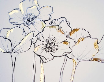 LIMITED EDITION - Flora - Ink Illustration Gold Foil Print