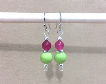Magenta Jade, Lime Green Glass Bead & Silver Accent Dangle Earrings, Handmade Original Fashion Jewelry, Handcrafted Simple Graduated Petite