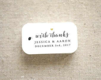 With Thanks Wedding Favor Tags - Personalized Gift Tags - Bridal Shower - Thank you tags - Party Tags - Favor Bag Tag (Item code: J668)