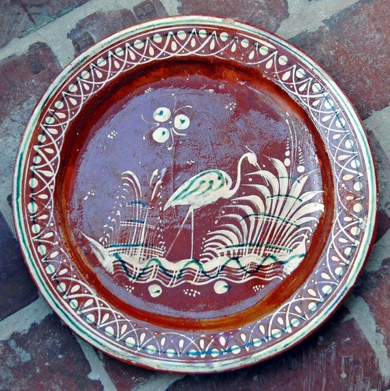 "1930s Mexican Tlaquepaque Bandera REDWARE POTTERY CHOP Plate w/ Bird 13 1/4"" Di Hand Painted Very Good Condition"